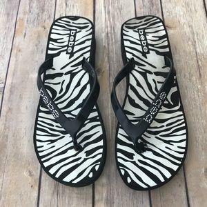 Bebe Zebra Print Platform Sandals